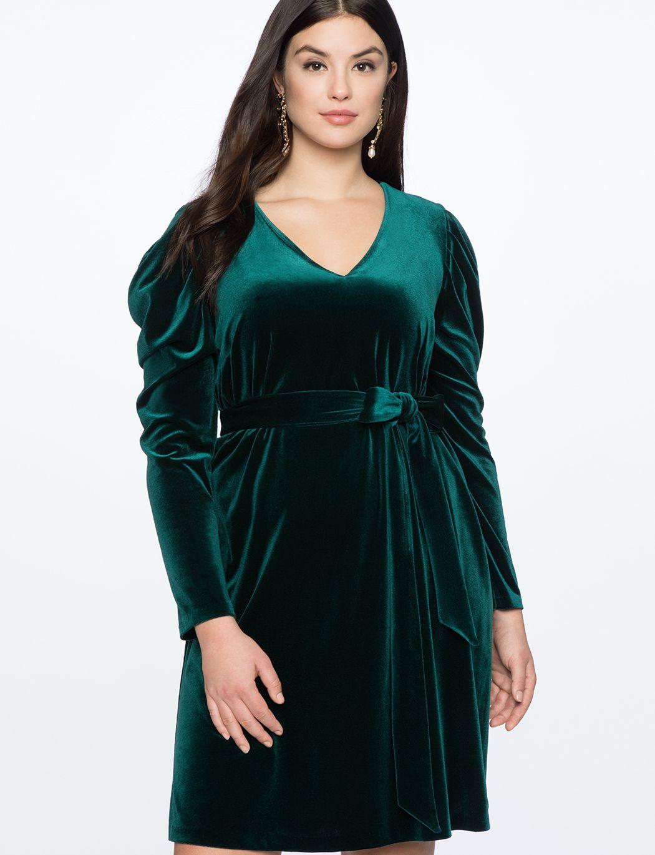 287db71aa97ad Draped Puff Sleeve Velvet Dress | Women's Plus Size Dresses in 2019 ...