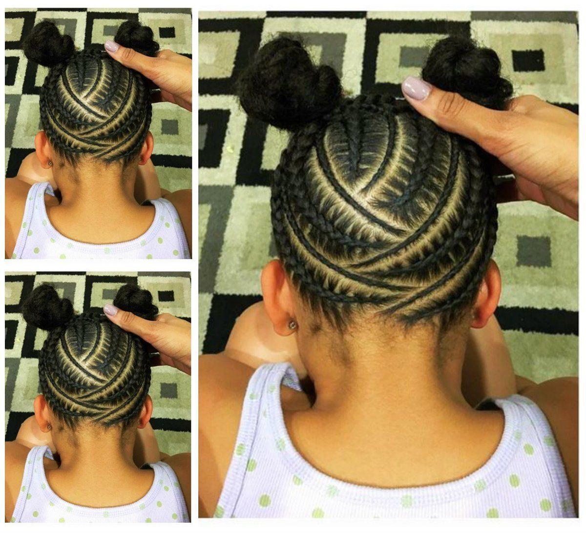 29 Braided Cornrows With Buns For Little Black Girls Afrocosmopolitan Hair Styles Little Girls Ponytail Hairstyles Natural Hair Styles For Black Women