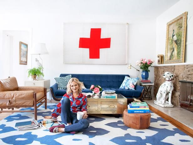 I *LOVE* this room (especially the color combo & the red cross) Living Room Style on a Budget: In her favorite room, Secrets From a Stylist's Emily Henderson shares her secrets with HGTV Magazine -- from thrift store finds to DIY art.