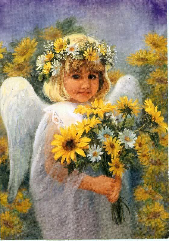 Срезанные цветы, ангел букет пожеланий
