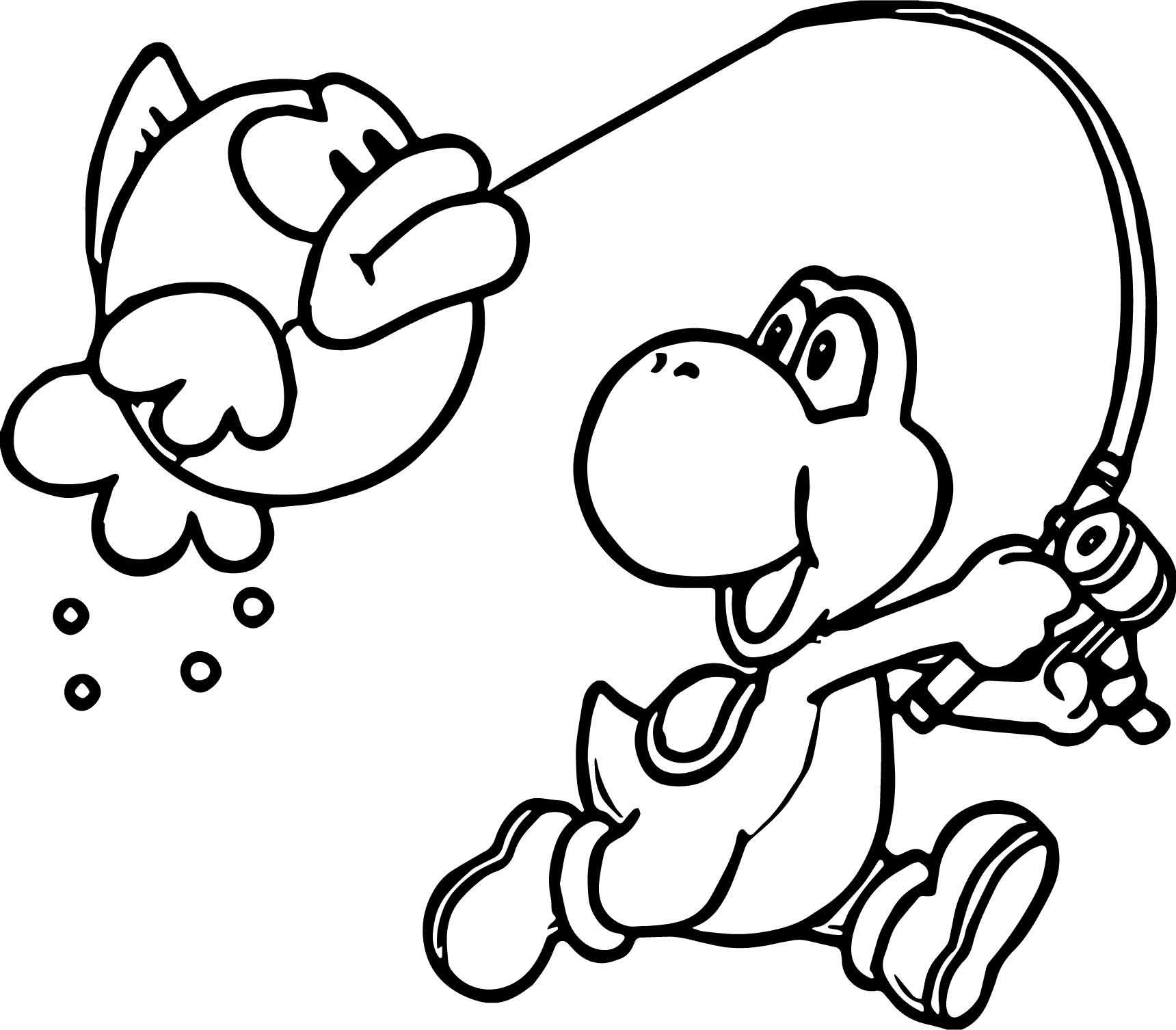 - Coloriage Yoshi Wooly World Fish Coloring Page, Mario Coloring Pages