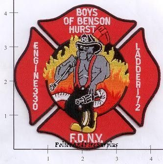 Engine 330 Ladder 172 Fire Patch v2 Red