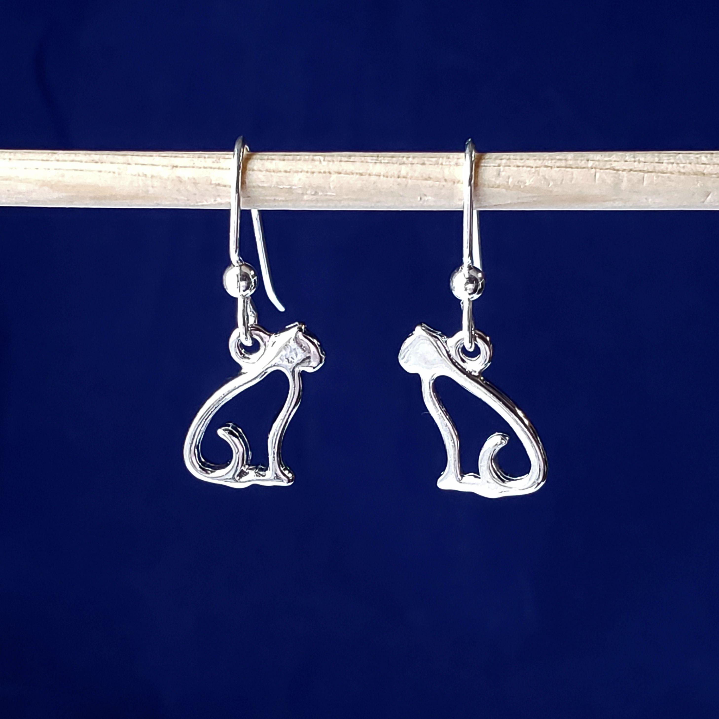 Sterling Silver Sitting Cat Wire Earrings