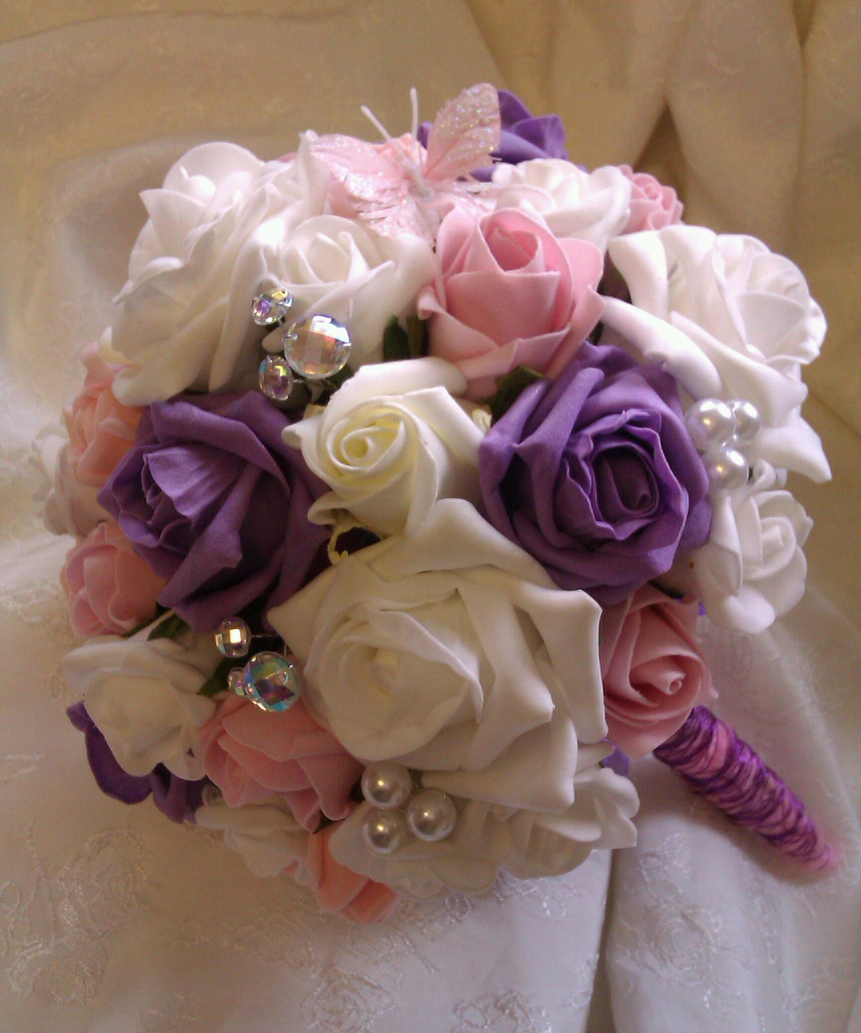 Foam Rose & Pearl Bouquet x  www.flowersbypurplehaze.com