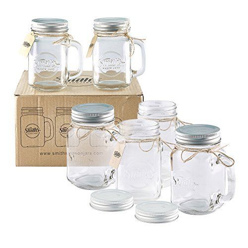 Amazon Com Mason Jar 4 Ounce Mugs Set Of 48 Glasses With Handles And Leak Proof Lids Great For Sh Mason Jar Shot Glasses Mini Mason Jars 16 Oz Mason Jars