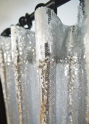 Silver Sequins Beaded Curtain Drapery Panel Room Divider Handmade