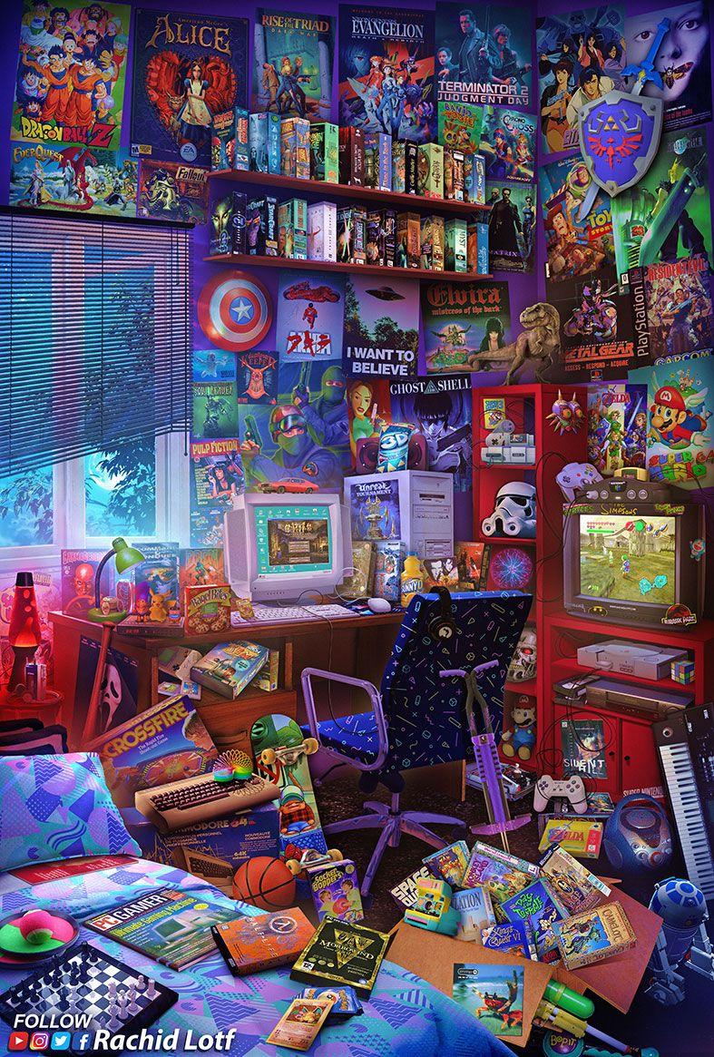 The Ultimate 90s Gaming Room Retro Gaming Art Retro Art Art Wallpaper
