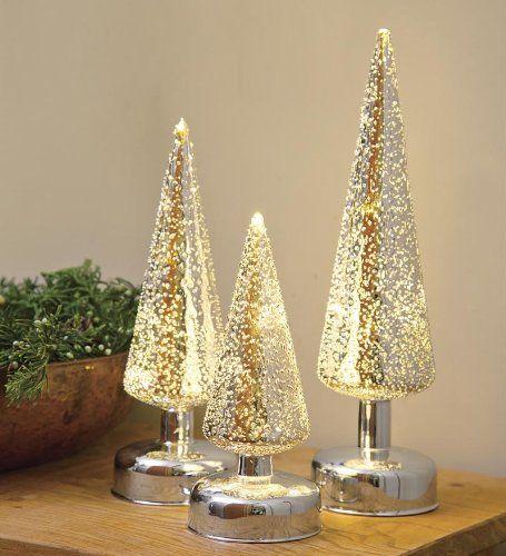 Lighted Silver Glass Christmas Trees Christmas Glass Christmas Tree Christmas Tree Decoration Ideas Red Tabletop Christmas Tree