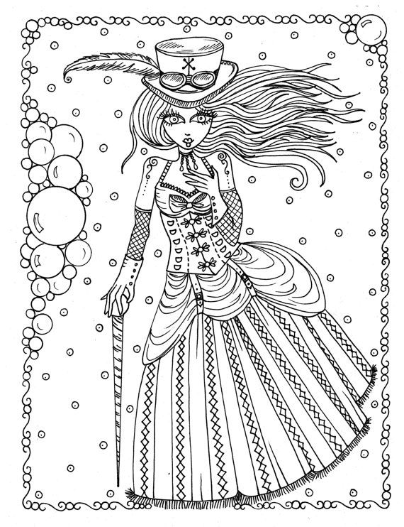 Steampunk Girls Coloring Book For All Ages Fun Quirky Cute Etsy In 2021 Steampunk Coloring Coloring Books Coloring Book Pages