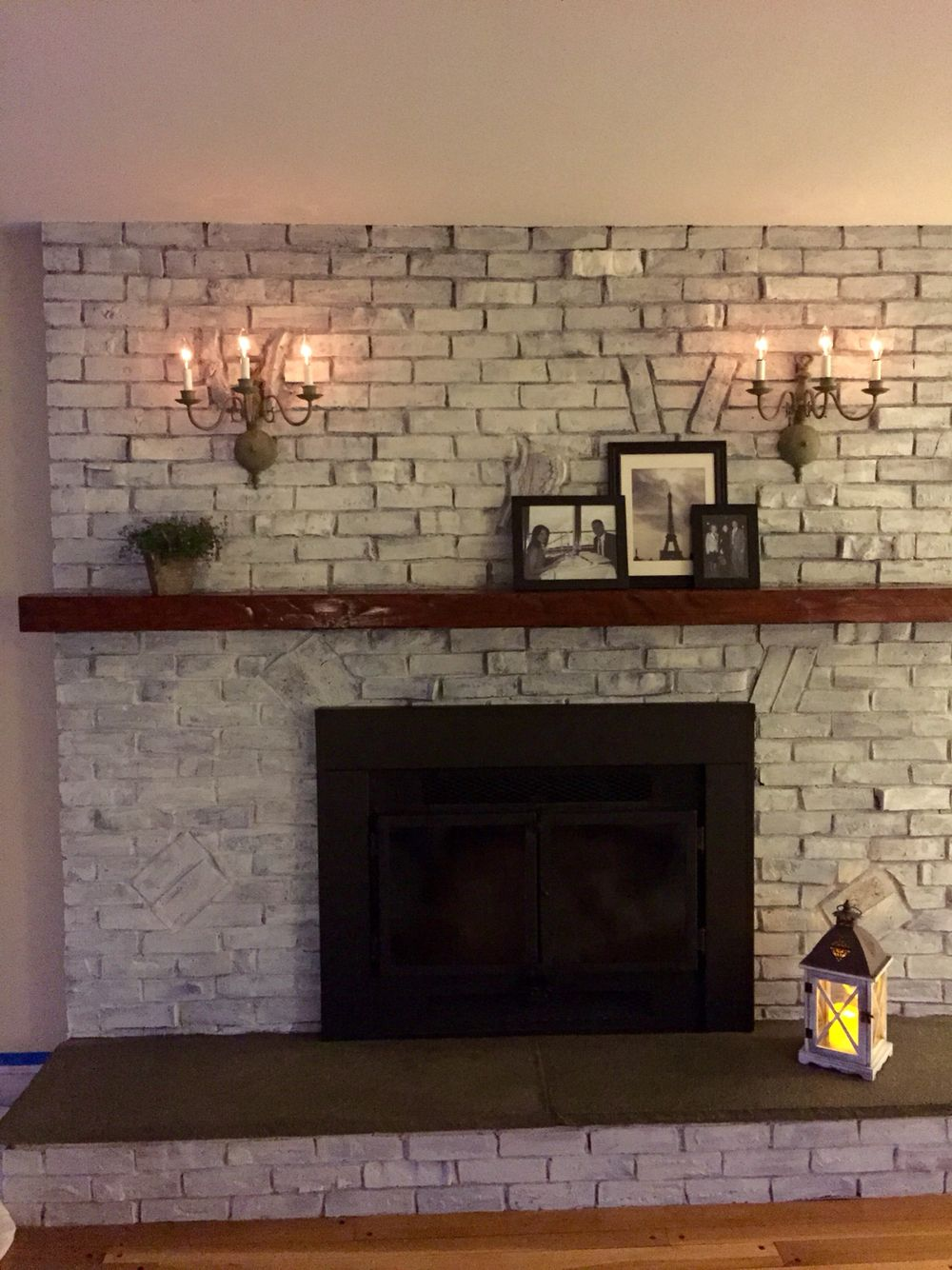 Final Product White Wash Brick Chalk Painted Sconces And Spray Painted Fireplace For Uniform Look Family Room Paint White Wash Brick Fireplace