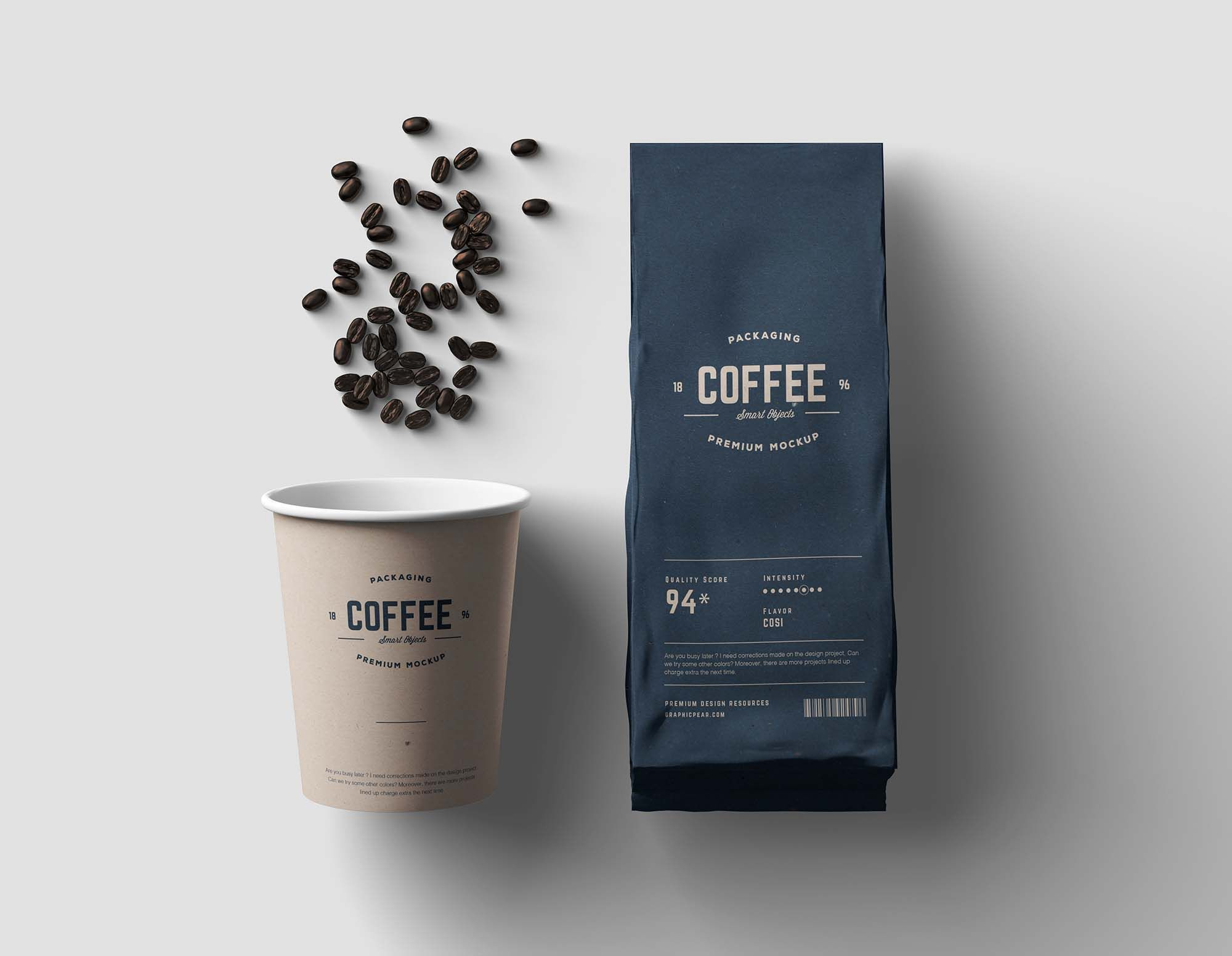 Paper Coffee Cup And Bag Packaging Mockup Paper Coffee Cup Coffee Packaging Coffee Shop Branding