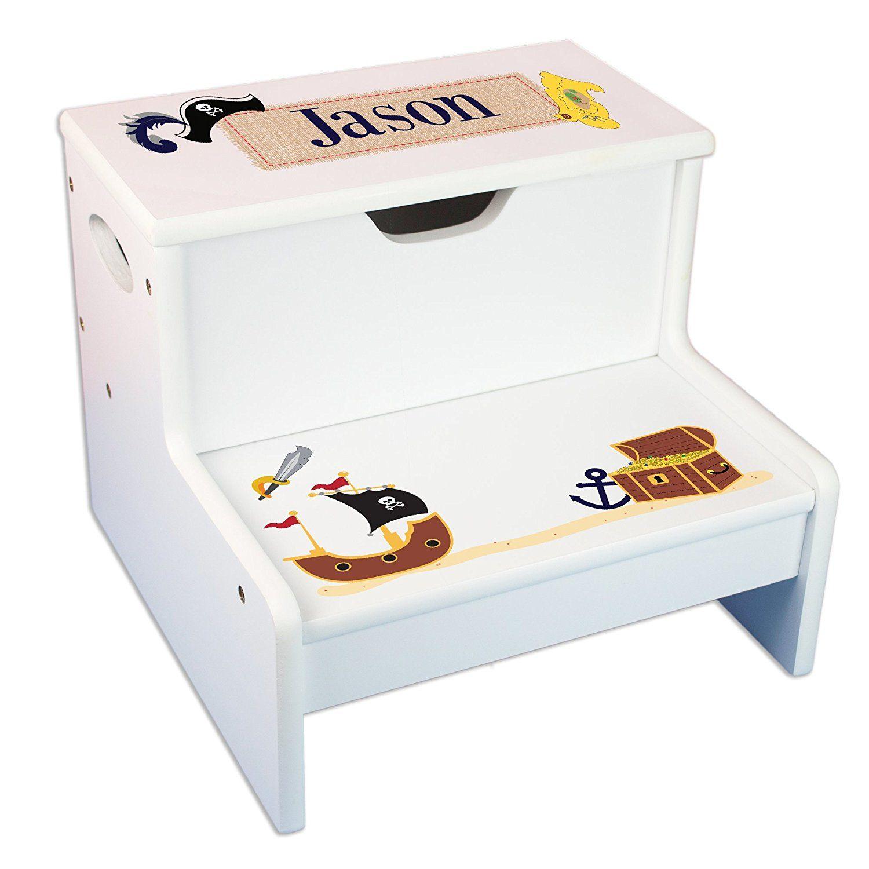 Enjoyable Amazon Com Personalized Pirate Storage Step Stool Baby Ibusinesslaw Wood Chair Design Ideas Ibusinesslaworg