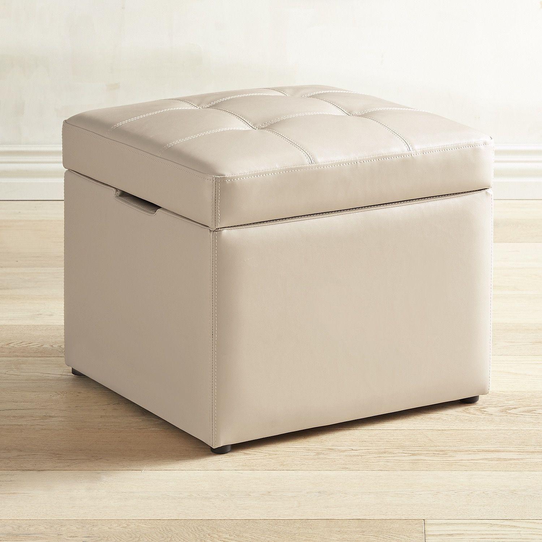 Sensational Sutton Ivory Leather Storage Cube White Living Room Inzonedesignstudio Interior Chair Design Inzonedesignstudiocom