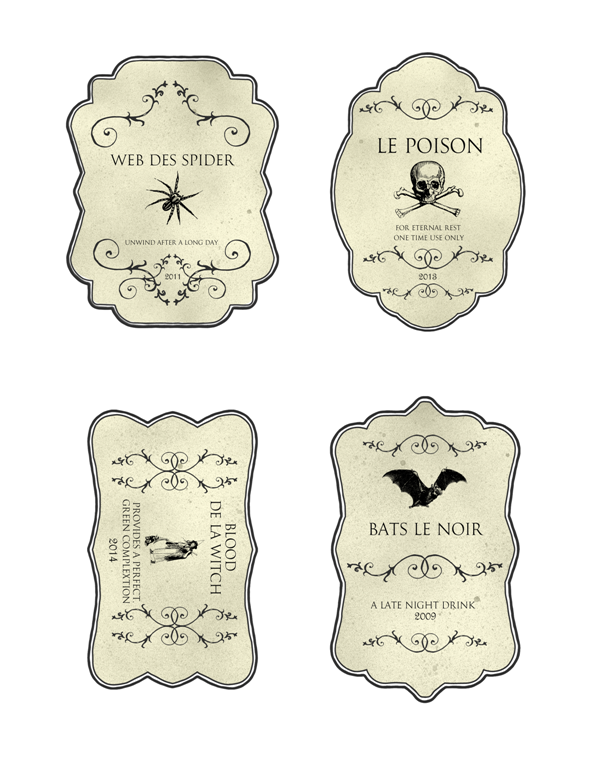 halloween bottle label templates free
