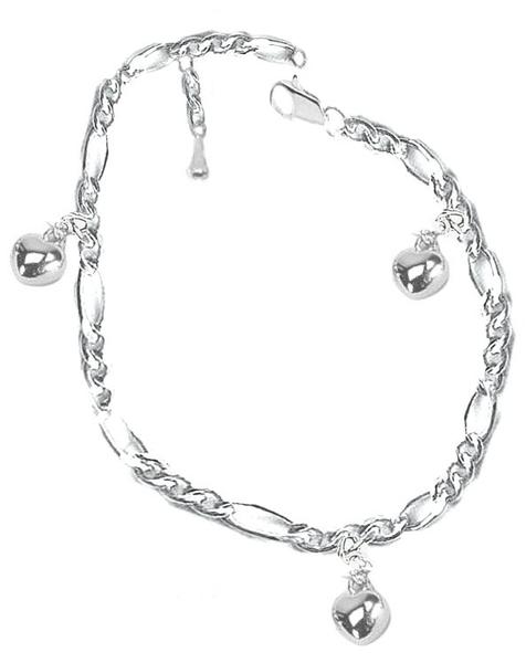 Hearts Anklet bracelet Diamond Cut Italian figaro 7- 8  inch