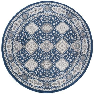 Tayse Rugs Madison Navy 5 Ft X 5 Ft Round Area Rug Blue Area