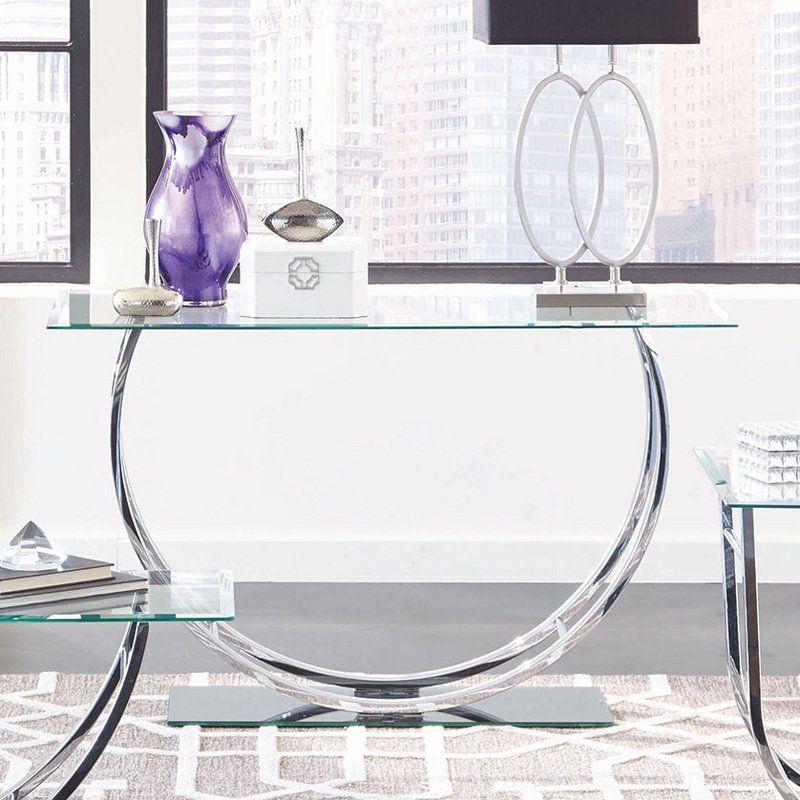 Coaster Furniture Modern Glass Top Sofa Table Chrome Glass