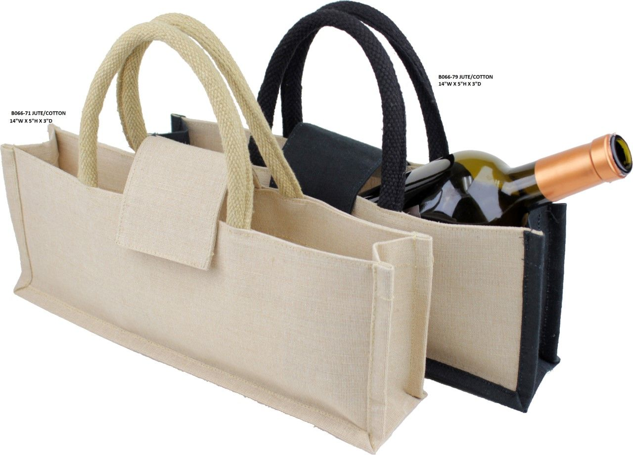 Jute Wine Bag With Black Or Natural Handles 14 W X 5 H 3 D