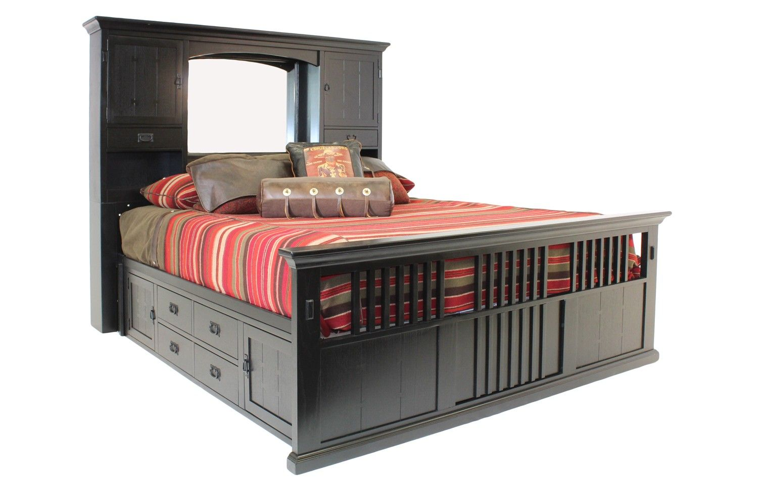 San Mateo Black Cal King Captains Bed   Beds   Bedroom Sets   Shop Rooms |