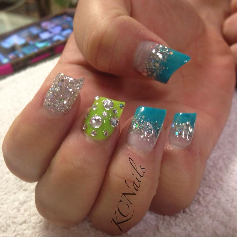 Teal and chartreuse acrylic nails. Lipstick nail shape. Fade and ...