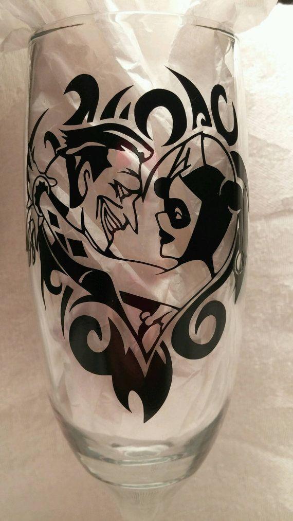 Joker and harley quinn wedding glasses this listing is for for Harley quinn and joker tattoo