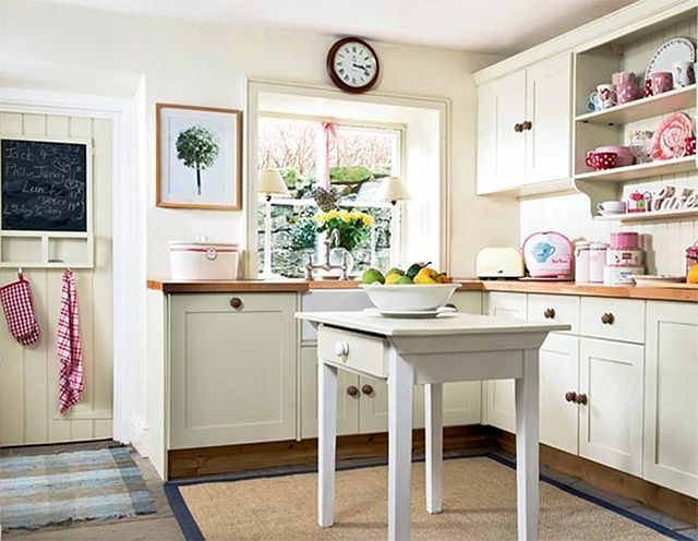 Small White Cottage Kitchen small, white kitchen with wood countertops and large wood knobs