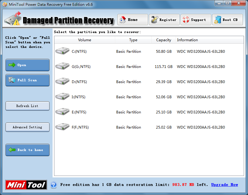 Five data recovery modules of the free files recovery