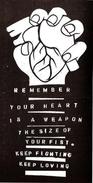 Remember Your Heart Is A Weapon The Size Of Your Fist Keep Fighting