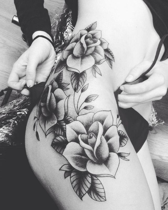 tattoo rose tattoos pinterest tattoo ideen t towierungen und oberschenkel. Black Bedroom Furniture Sets. Home Design Ideas