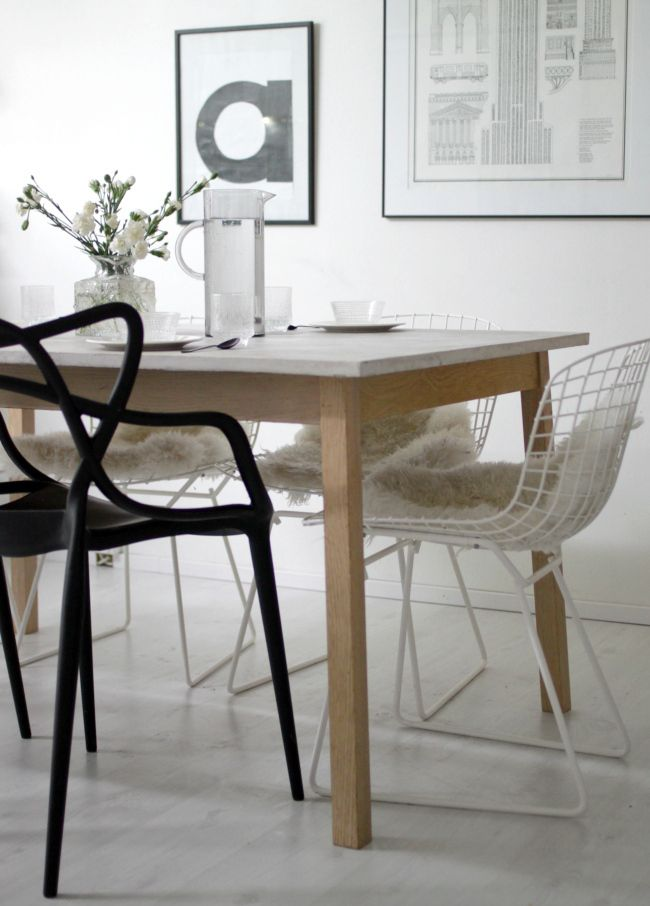 DIY concrete dining table from Ikea Tranetorp. Ikea hack! More pics ...