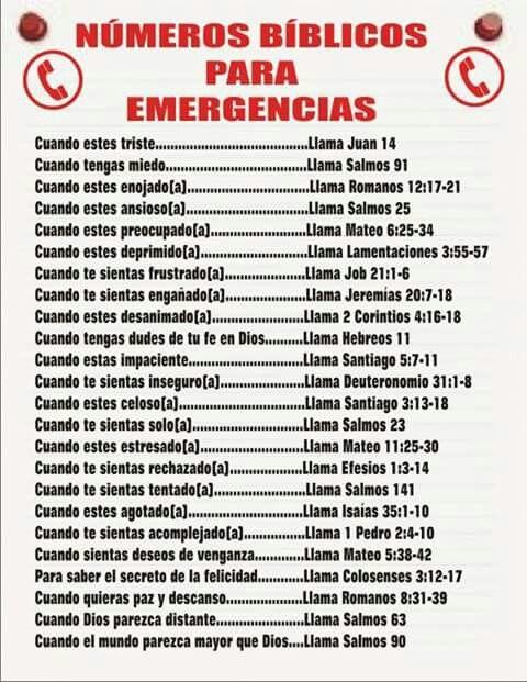 Numeros De Emergencia Biblicos Números De Emergencia De La