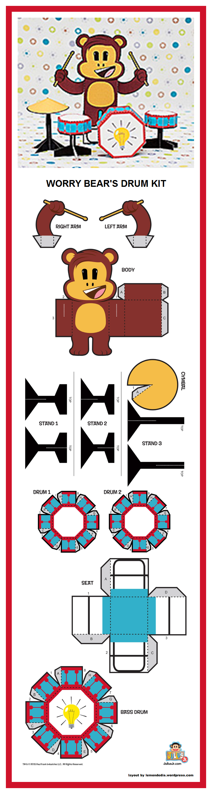 Drum Kits Paper Toys Box Bag Gift Boxes Papercraft Jr Filing Templates Cute Pets