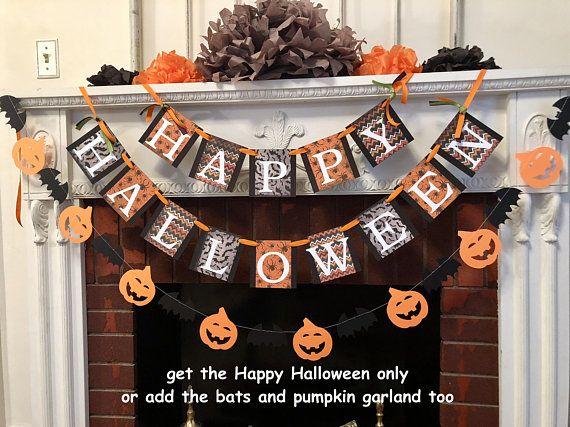 Halloween decorations, Happy Halloween Banner, Pumpkin Banner