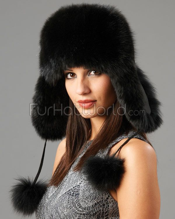 475399033 Womens Black Fox Fur Trapper Hat with Pom Poms in 2019 | Fashionable ...