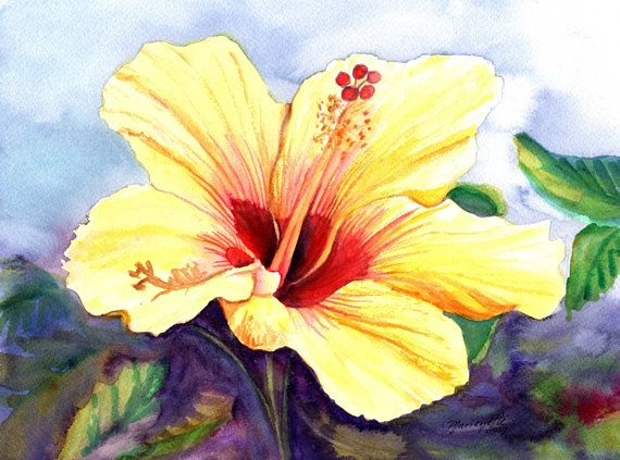 yellow hibiscus, original hibiscus paintings, watercolor art ...