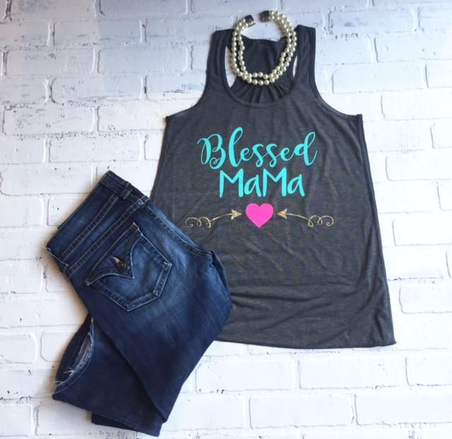 Blessed Mama tank top,  Razorback tank top, Flowy fit perfect tank for working out or casual dress with jeans. by TheClassyCoop on Etsy
