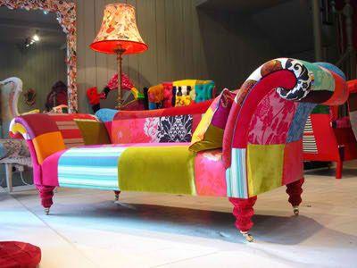 Sillones con retazos de diferentes telas y colores - Sillones de diseno italiano ...