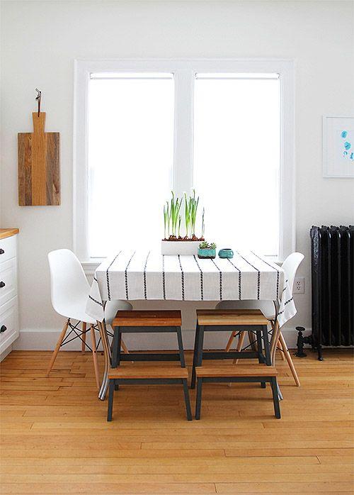 stools for kids' seating at table.  Design*Sponge / Alison Allen Kitchen Makeover
