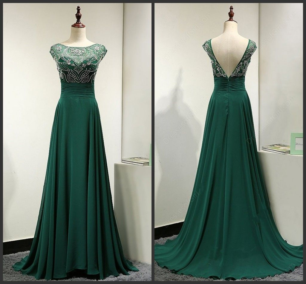 Backless Prom Dresses,Green Prom Gowns