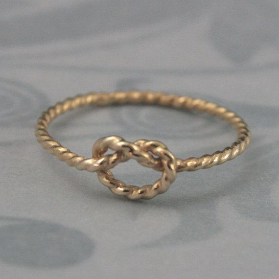 Nautical Knot Love Knot Ring in Yellow Gold Filled--Promise Ring--Friendship Ring--Tie the Knot Bridesmaid Gift--Custom made in YOUR size