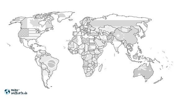 Weltkarte Flaggen Die Flaggen Aller Lander Sind Grau In Die