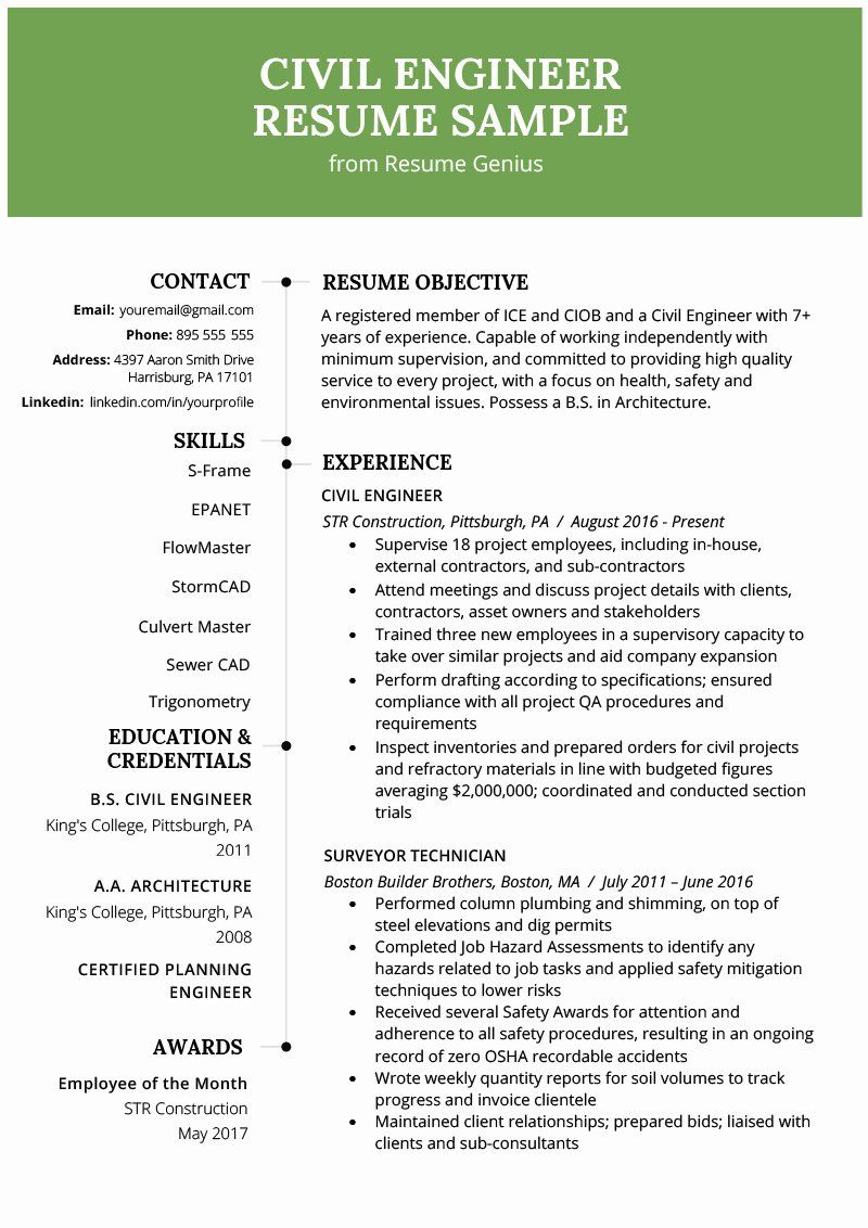 49++ Civil engineer resume doc Examples