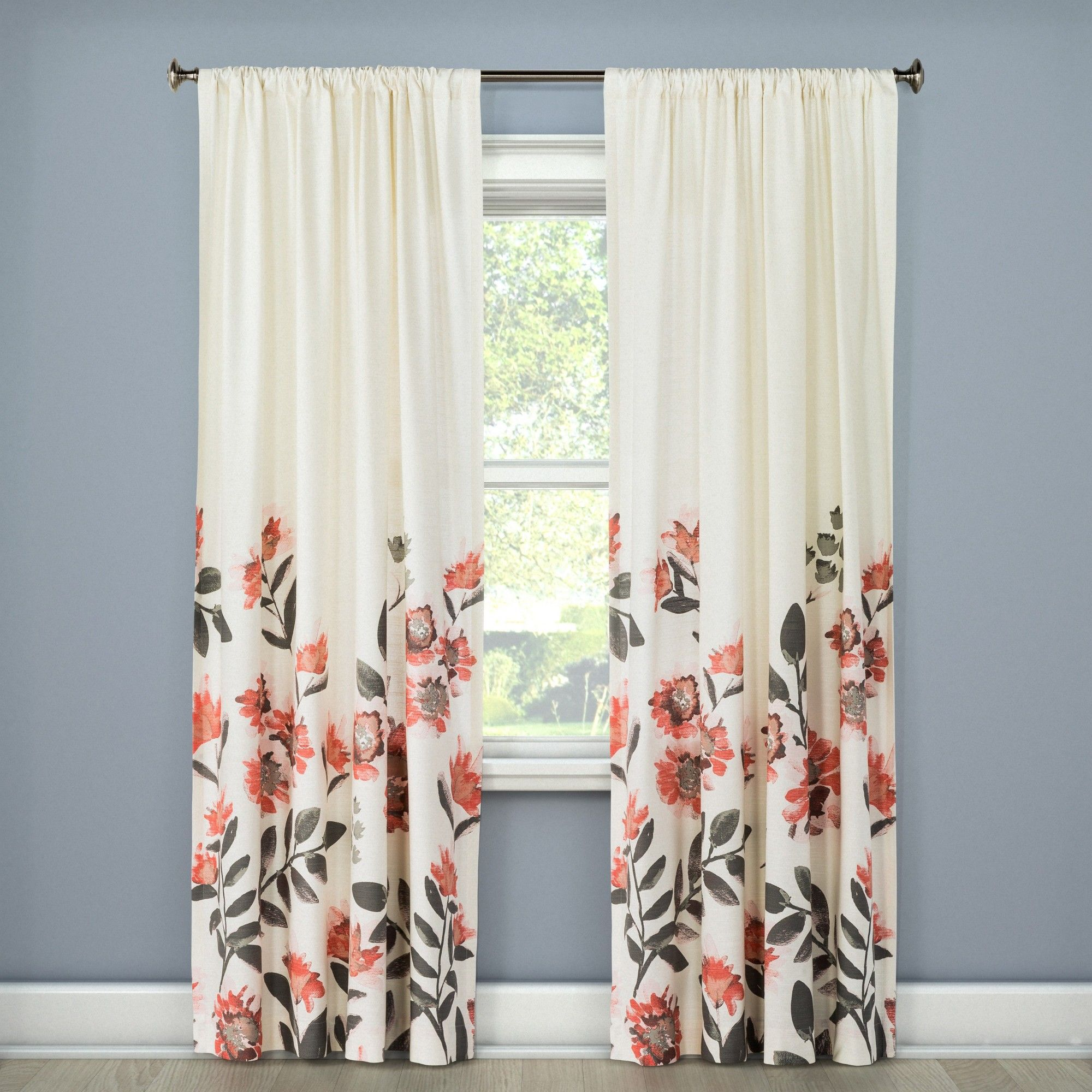 Climbing Floral Window Curtain Panel Coral 54 X84 Threshold