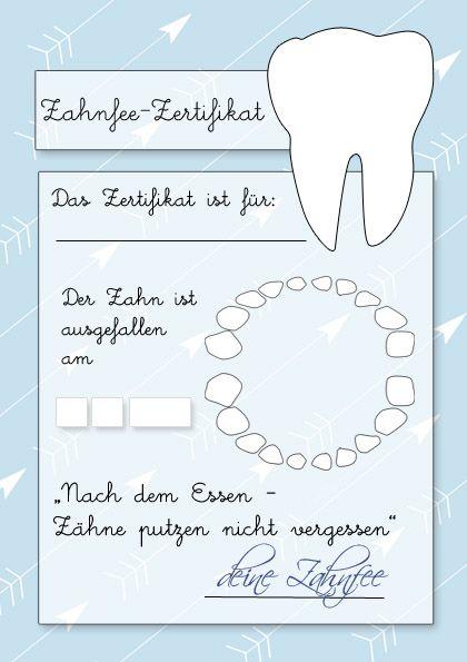 Zahnfeezertifikat Zum Ausdrucken Pins Von Familinchen Pinterest