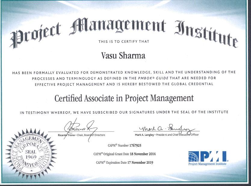 Proud To Have Secured The Project Management Institute Certified