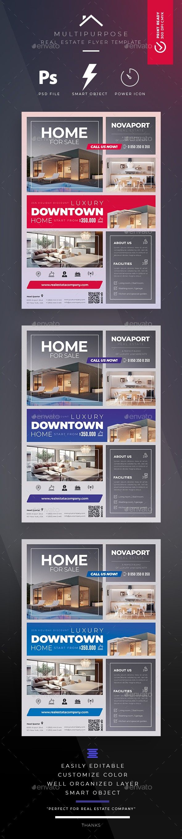 ads blue creative flyer for rent for sale home for sale
