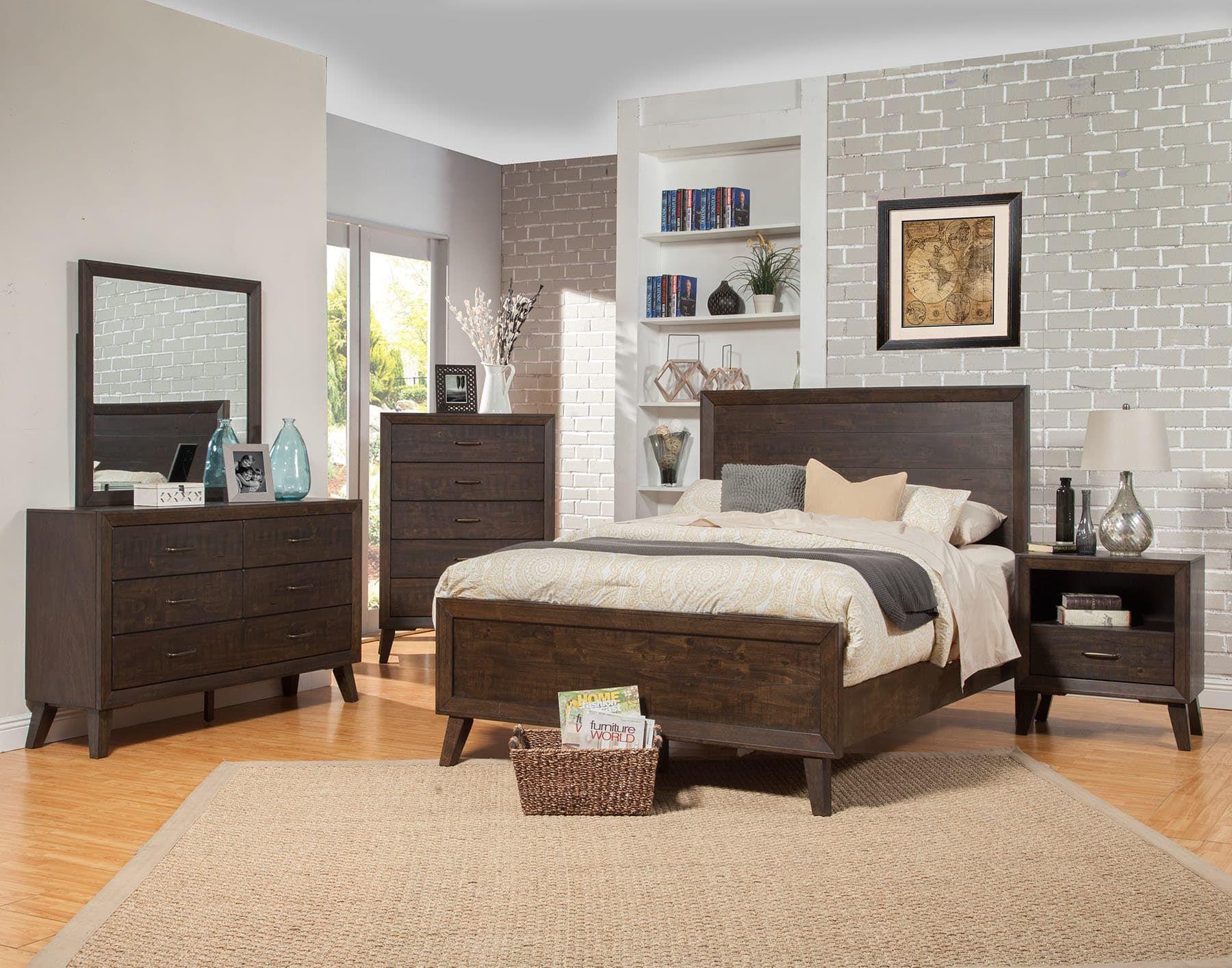Alpine Alcott Tobacco King 5Piece Bedroom Set & Reviews