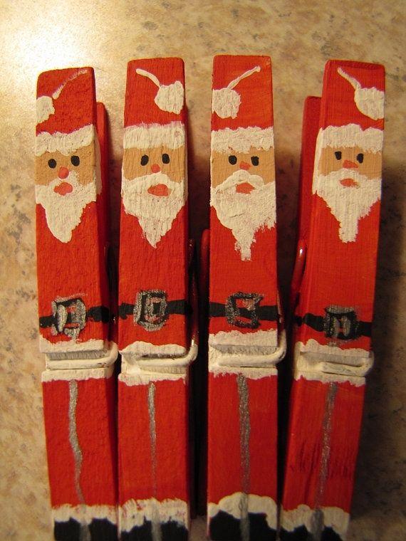 set of 16 hand painted christmas clothespins santas. Black Bedroom Furniture Sets. Home Design Ideas