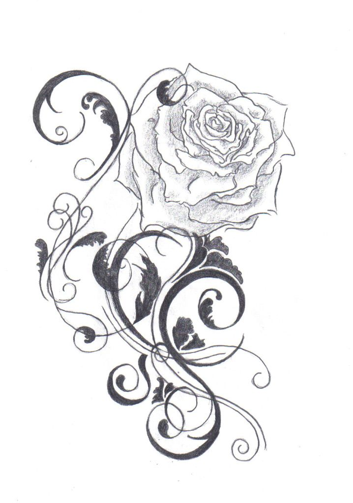the color of the rose tattoo ideas the tattoo is black and if you used