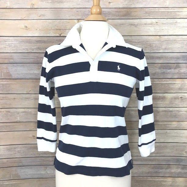 e87c27a456f Ralph Lauren Sport Polo Shirt Rugby Womens Sz Small Navy White Bold Stripe  Top #RalphLauren
